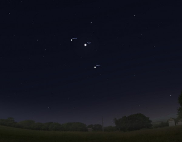 Triple play – Moon, Jupiter and Venus Line Up this Weekend