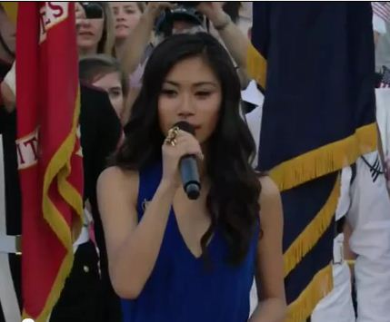 Jessica Sanchez singing the National Anthem at the PBS Memorial Day Concert 2012