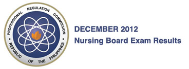 Philippine Board Exam Results Nursing Board Exam Result December 2012
